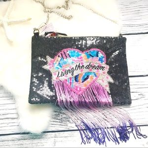 TOPSHOP • Black Sequined Fringe Cross Body Bag